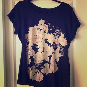 Floral rhinestone easy fit  graphic tee Express
